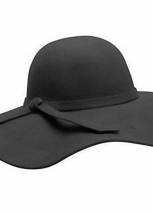 Шикарная черная широкополая шляпа 100% шерсть
