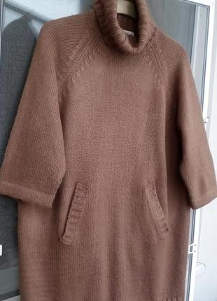 Вязаное платье свитер туника с карманами zara