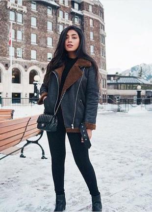 Zara байкерская куртка с отделкой из искусственного меха