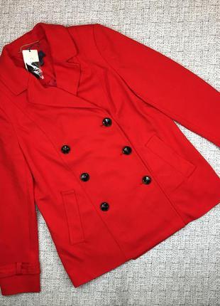 Яркое двубортное пальто mango, l, из вискозы жакет, тёплый пиджак