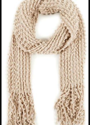 Бежевый шарф/молочный шарф /теплый шарф