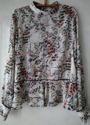 Блузка в цветочный принт zara basic z1975 denim made in morocco