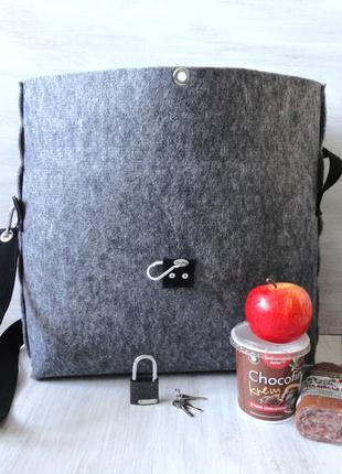Сумка-сейф тоут из войлока, крепкая, вместительная сумка, застёжка карабин или замок!