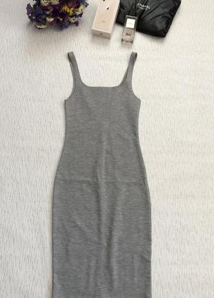 Zara серое платье миди длины