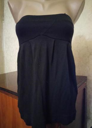 Чёрное базовое летнее платье -туника s