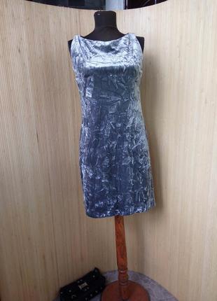 Трендовое  пепельно серое вечернее / коктейльное платье фактурный велюр