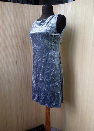 Трендовое  пепельно серое вечернее / коктейльное платье фактурный велюр2