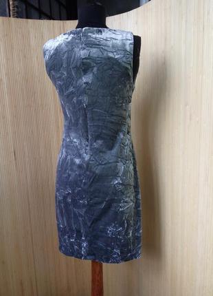 Трендовое  пепельно серое вечернее / коктейльное платье фактурный велюр3