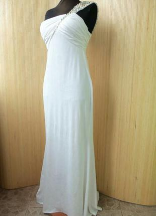 Белое вечернее длинное платье бюстье в пол на одно плечо