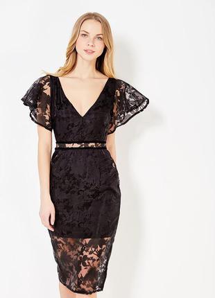 Шикарное гипюровое платье lost ink, asos. черное платье миди, новое
