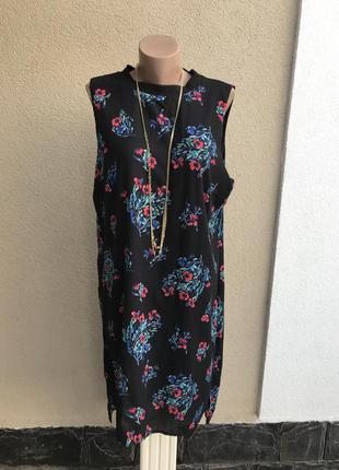 Платье,сарафан,блуза,туника удлинен.по спине,разрезы по боку,цветоч. принт.большой размер