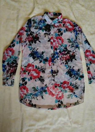 Прозрачная блуза с цветочным принтом