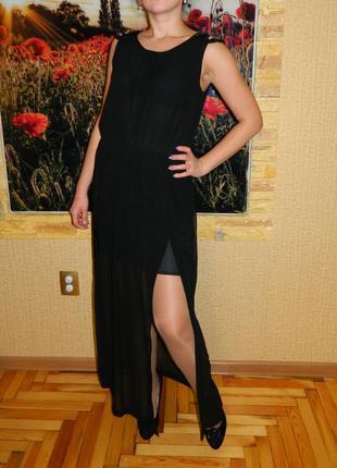 Платье длинное черное с разрезами zara р. 46-48