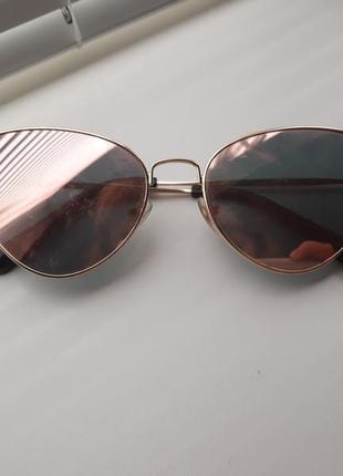 Зеркальные очки лисички cat eyes