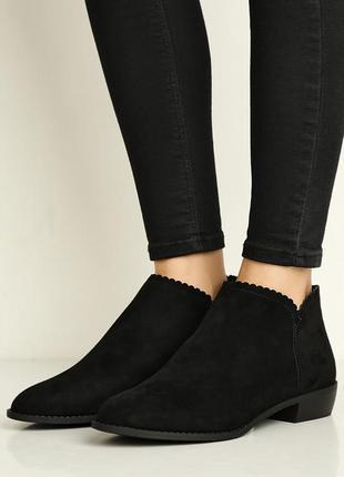 Сапоги ботинки черные замшевые на каблуке новые dorothy perkins