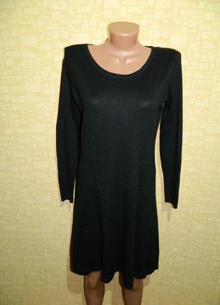 Платье черное теплое с длинным рукавом f&f р. 44-46