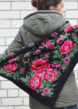 Платок хустка шерсть винтаж национальный с маками украинский бабушкин