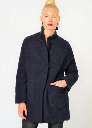 Короткое пальто из шерсти, пиджак/полупальто/жакет. цвет индиго. италия. р 46-48