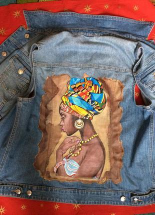 Джинсовая жилетка роспись