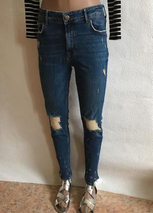 Джинсы бершка укорочённые рванные с дырками скинни skinny mom jeans