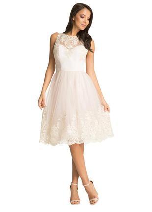 Шикарное нарядное кружевное пышное платье chi-chi london! распродажа!