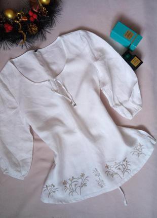 Блуза вышивка,  лен, рубашка 52размер