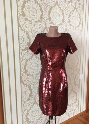 Шикарное  фактурное платье с паетками от dorothy perkins нарядное вечернее коктейльное