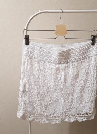 Кружевная белая юбка topshop кружево