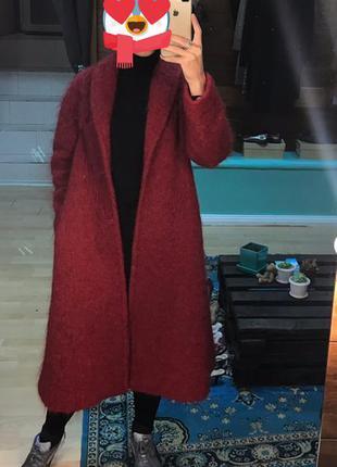 Пальто красное h&m premium мохер 100%