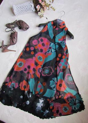 Колоритное коктейльное платье /zara/ размер m