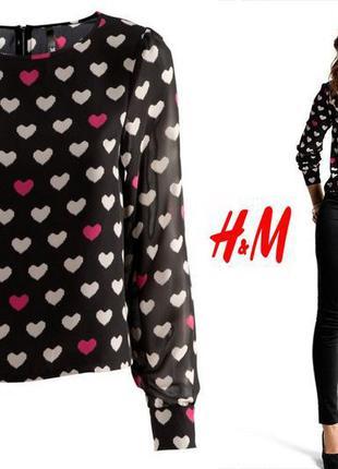 Красивая стильная укороченная блуза в сердечки h&m