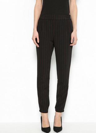 Новые брюки в полоску bershka, испания. черные брюки с карманами, женские штаны