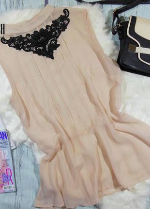 Обалденная шифоновая блузка с кружевом