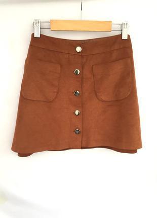 Юбка с пуговицами спереди/ коричневая замшевая юбка трапеция