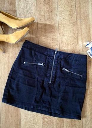 Короткая юбка мини черная 36 р. от h&m (divided)