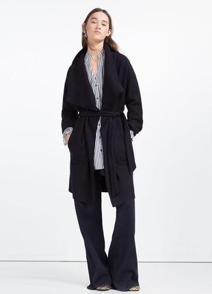 Крутое легкое пальто zara s темно-синее