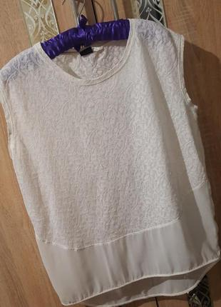 Стильная комбинированная блуза оверсайз , свободного кроя