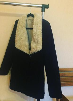 Чёрное пальто zara