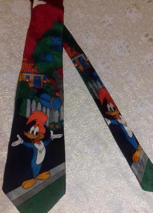 Яркий галстук с вуди вудпекером 100% шёлк