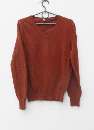 Натуральный мягкий 100% шерстяной свитер пуловер с длинным рукавом