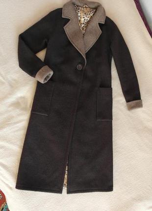 Zara модное длинное пальто шерстяное