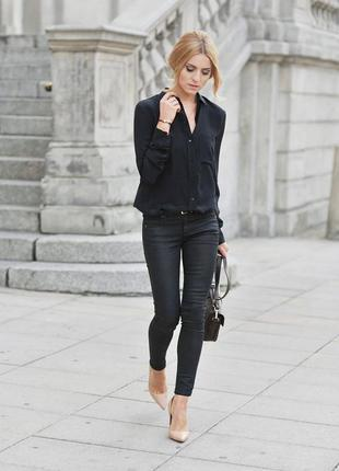 Блуза, рубашка черная от h&m спадающая m,l