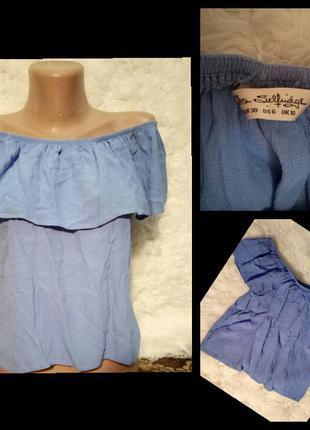 Небесно голубая блуза с открытыми плечами miss selfridge