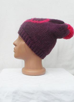 Вязаная зимняя  спортивная шапка с помпоном