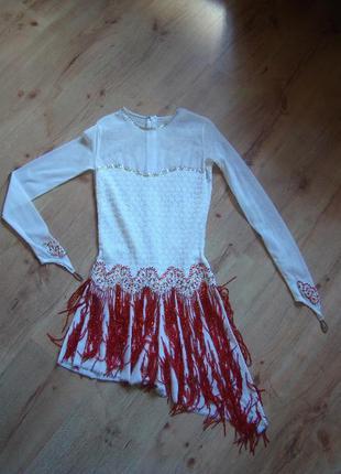 Белое платье для бальных танцев латина