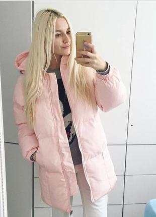 Объемная свободная розовая куртка курточка пуховик зефирка одеяло на зиму