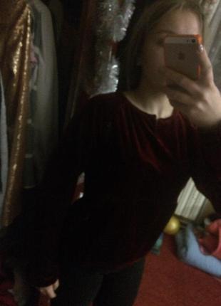 Крутейшая бархатная кофта бордового цвета