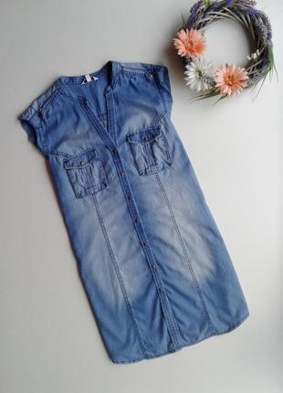 Джинсовое платье - рубашка с коротким рукавом от miss etam
