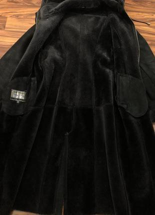 Новая цена ‼️дубленка большой размер чёрная с капюшоном длинная тёплая мех