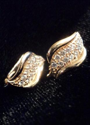 Серьги золотые золото 585 2,26 грамма фианит английский замок сережки камнями